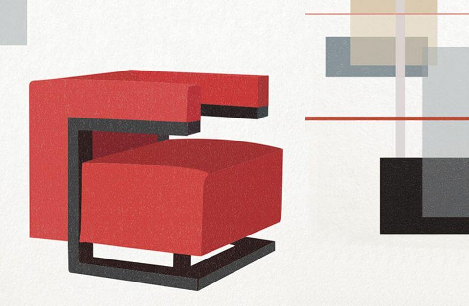 projekt czerwonego fotela Bauhaus
