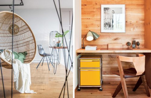 drewniane biurko z podwieszonym blatem drewnianym z drewnianym krzesłem bez kółek
