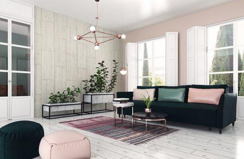 nowoczesne wnętrze salonu z białą podłogą dużą ciemną sofą stolikami i żyrandolem z miedzianym wykończeniem