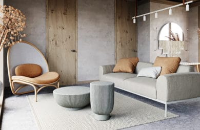 szaro drewniane wnętrze z naturalnych materiałów