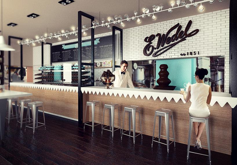 wizualizacja wnętrza pijalni czekolady Wedel wnowoczesnym stylu