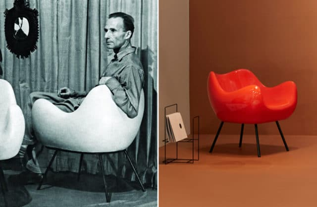 zestawienie zdjęcia Romana Modzelewskiego na fotelu RM58 obok czerwonego fotela w nowej aranżacji