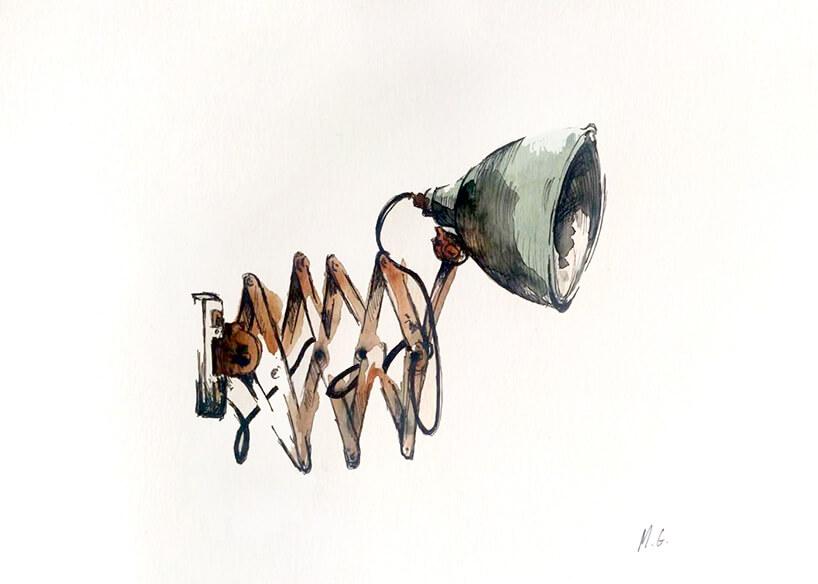 stara regulowana lampa namalowana akwarelą