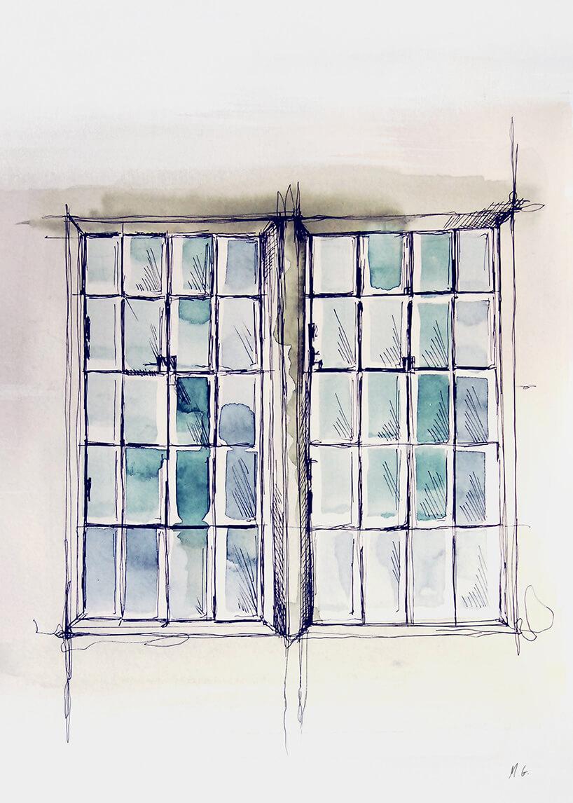 industrialne okno namalowane akwarelą