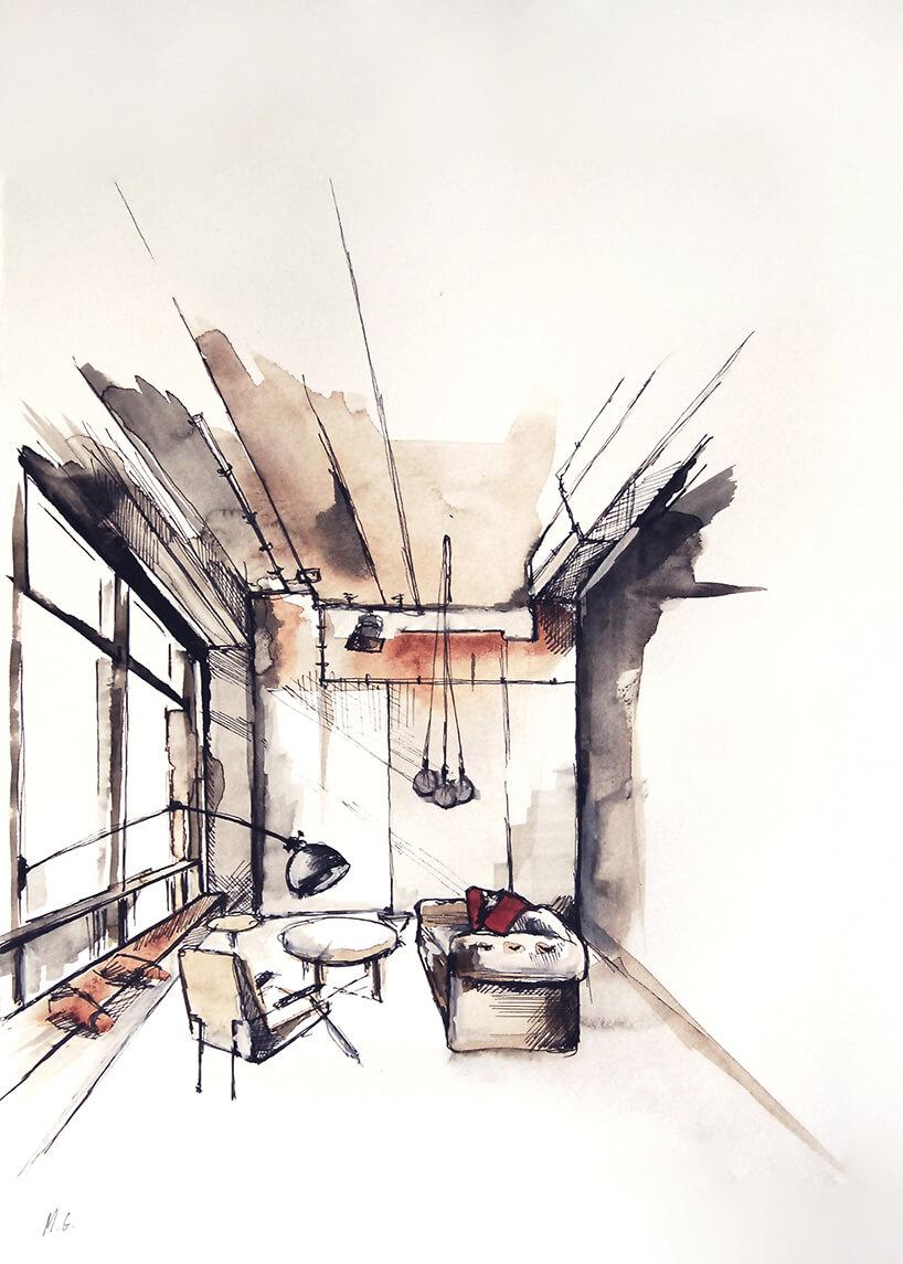aranżacja wnętrza namalowana akwarelą