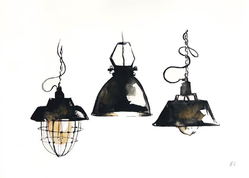 stare lampy namalowane akwarelą