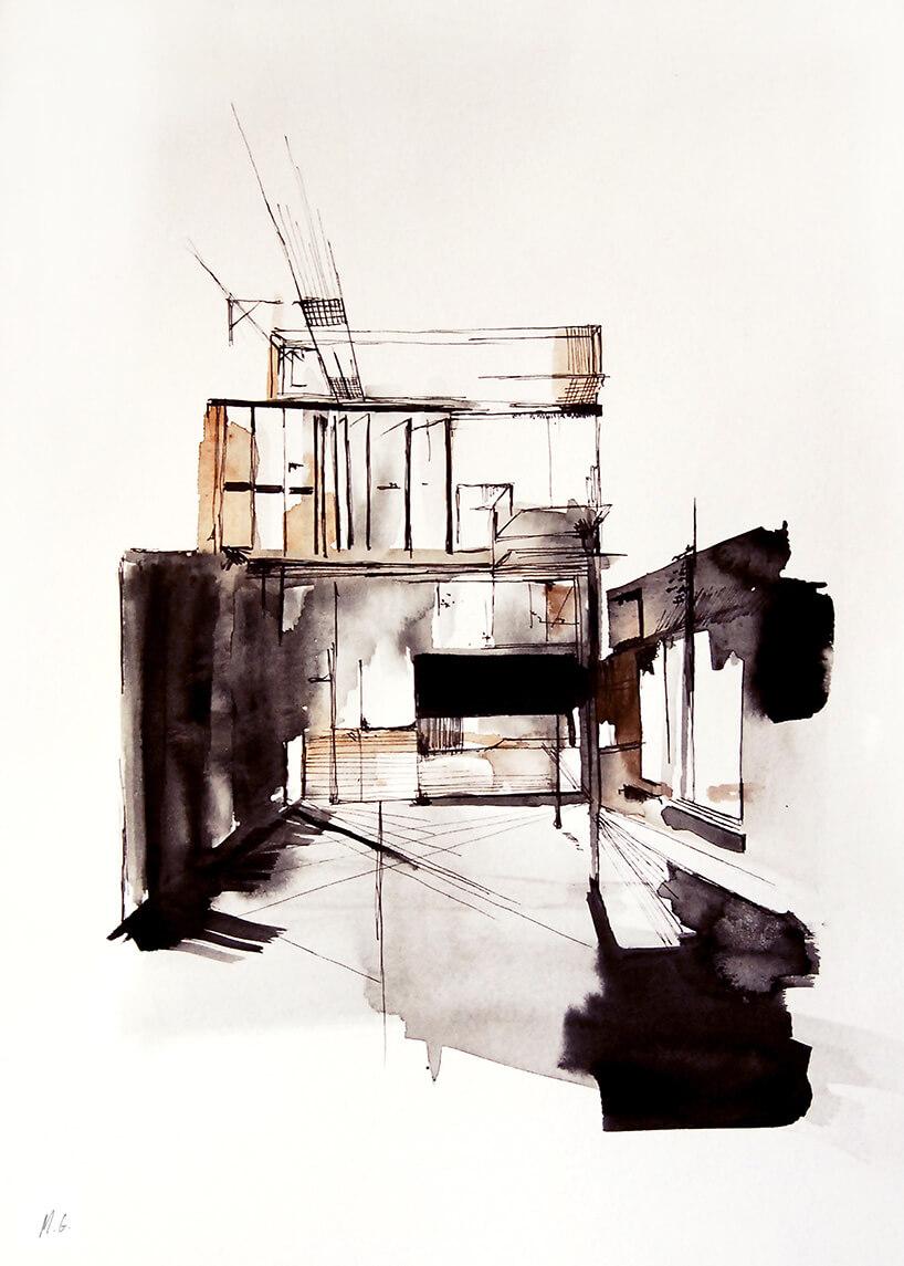 wnętrze namalowane akwarelą