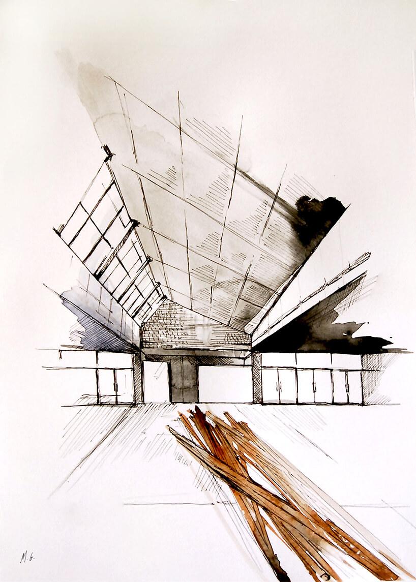 wizualizacja wnętrza namalowana akwarelą