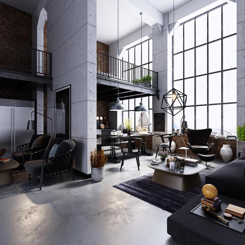 wysoki loft zwysoką antresolą na tle ogromnych okien