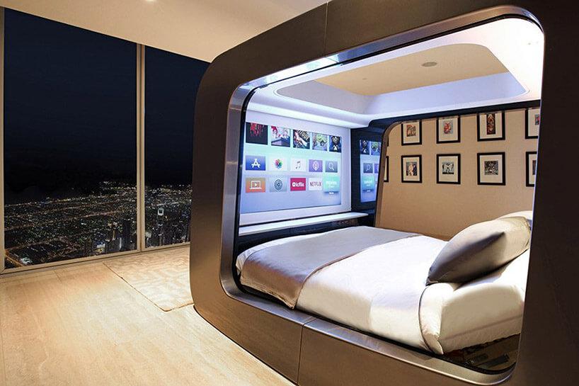 zabudowane nowoczesne łóżko wpartamencie