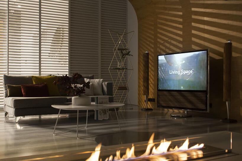 Living Space inteligentnym dom ze sterowaniem ABB salon zcentrum rozrywki