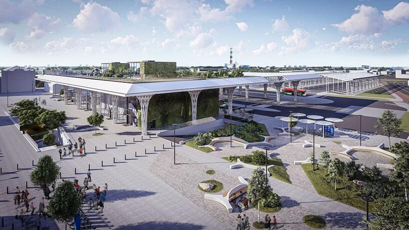 projekt intermodalnego dworca metropolitarnego wLublinie od Tremend widok na cały kompleks zgóry