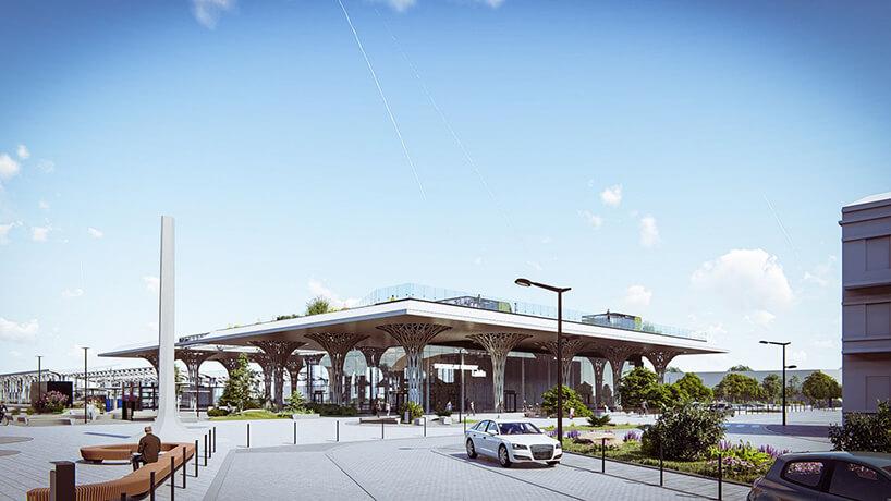 projekt intermodalnego dworca metropolitarnego wLublinie od Tremend widziany wdzień od strony dojazdu