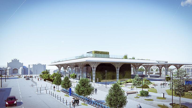 projekt intermodalnego dworca metropolitarnego wLublinie od Tremend widok na przestrzeń przed wejściem