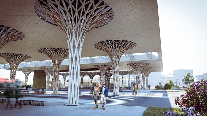 projekt intermodalnego dworca metropolitarnego wLublinie od Tremend widok kolumny wspierających dach