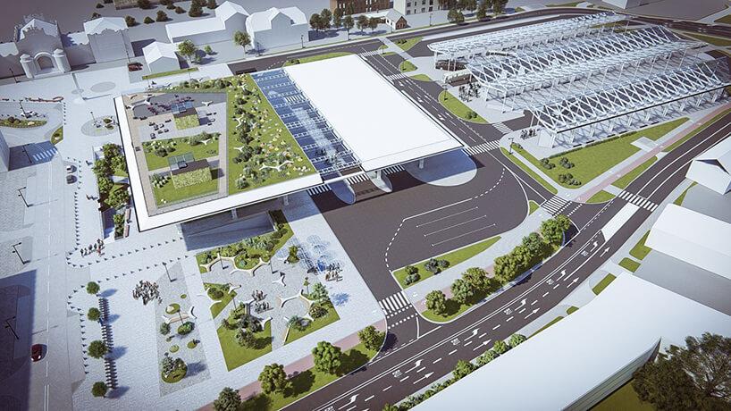 projekt intermodalnego dworca metropolitarnego wLublinie od Tremend widok zlotu ptaka