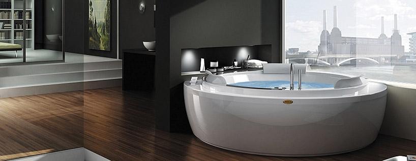 duże okrągłe jacuzzi wprzestronnej łazience