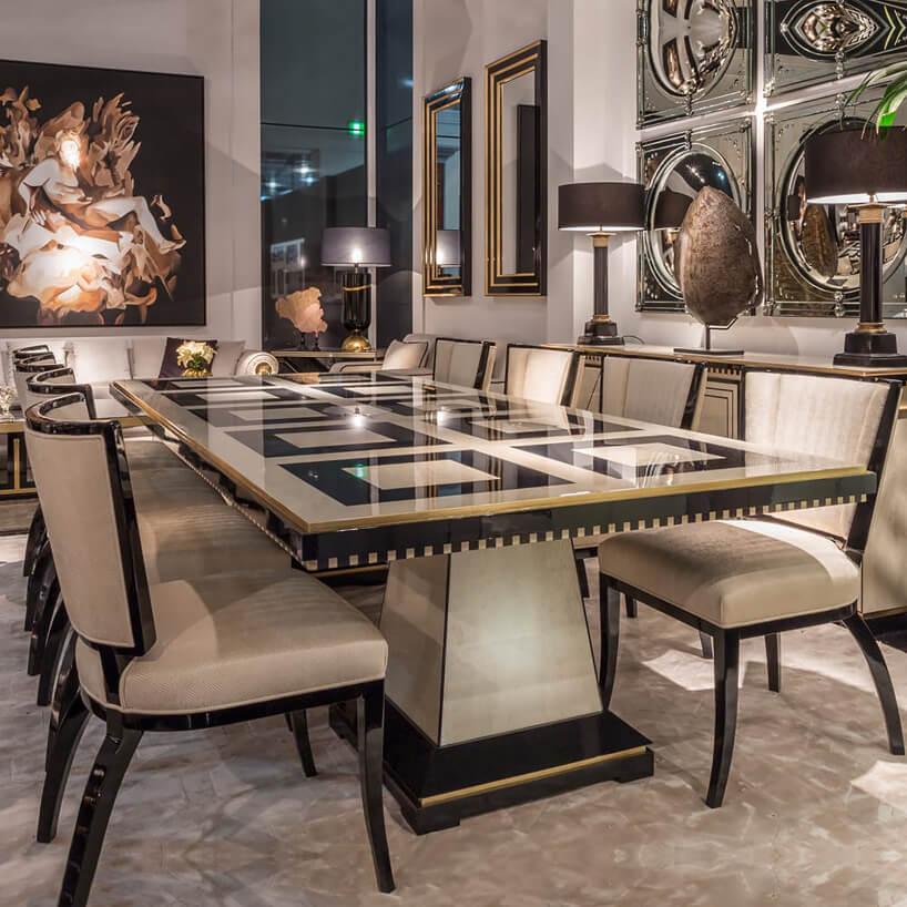 jadalnia glamour ze stołem zkamiennym blatem