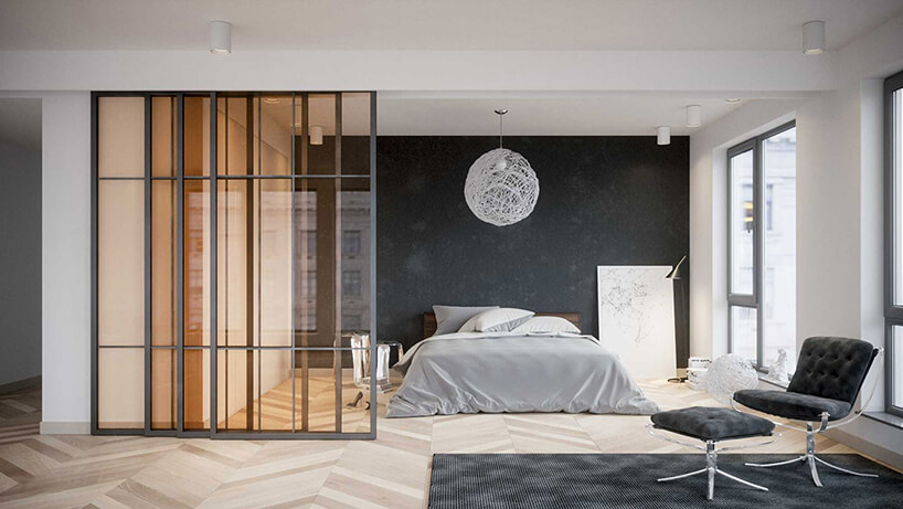 eleganckie szare drzwi przesuwne zbursztynową szybą oddzielające sypialnie od salonu