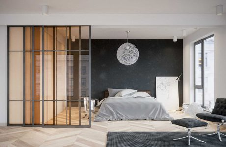 eleganckie szare drzwi przesuwne z bursztynową szybą oddzielające sypialnie od salonu