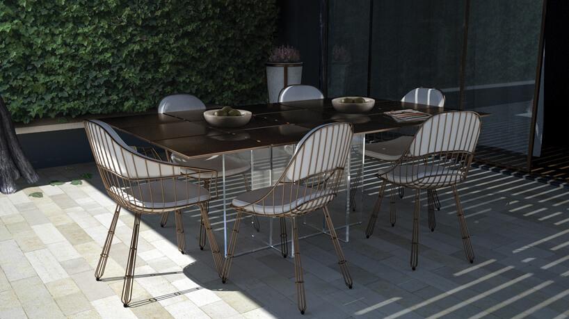 nowoczesny designerski stół ogrodowy Nero Dining Table od MyFace zbrązowym blatem