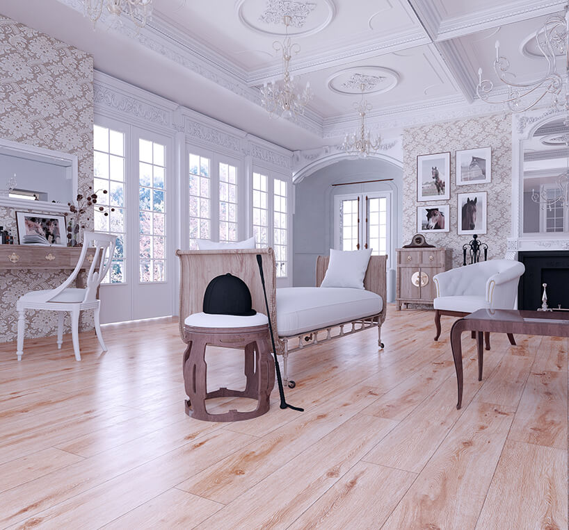 eleganckie jasne wnętrze wstylu klasycznym zpodłogą dąb catalan 3790 od Swiss Krono