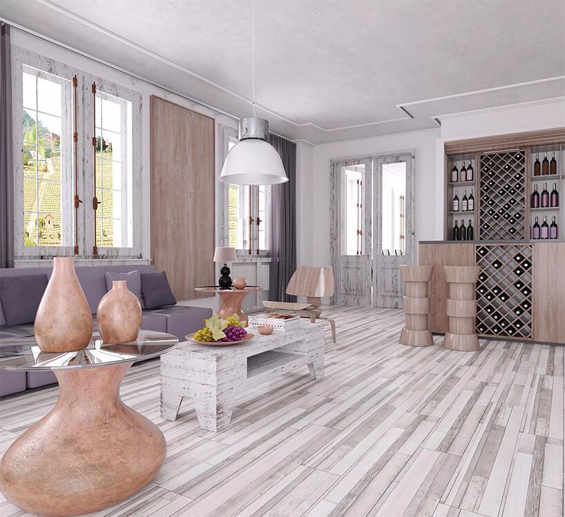 eleganckim salon zfioletową sofą iszafką na wino zpodłogą cedr cabernet 3755 od Swiss Krono