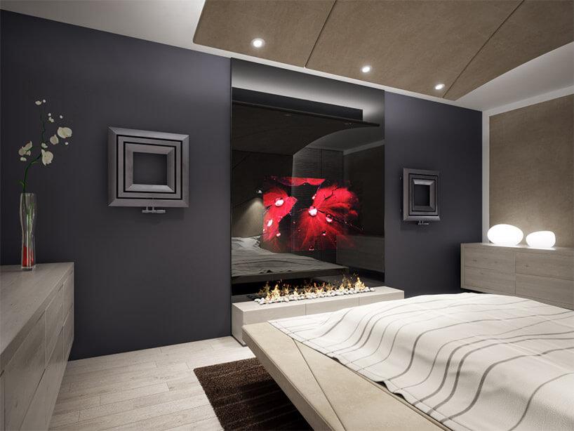 nietypowe kwadratowe czarne grzejniki wsypialni