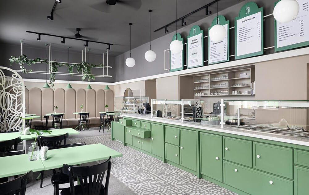 Jedzenie jak umamy, aranżacja jak zkatalogu – apetyczny projekt opolskiego baru mlecznego
