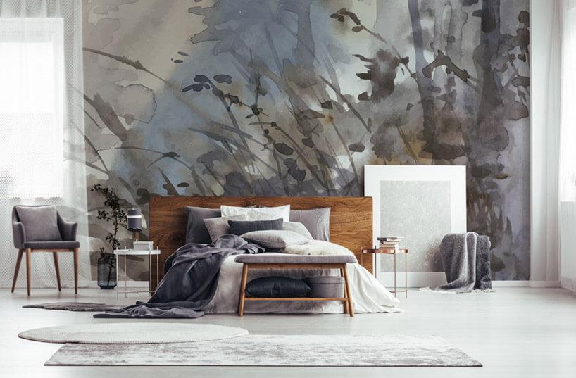 tapeta zpstelowym motywem wysokiej trawy wsypialni