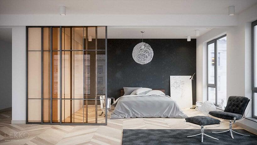 przesywne drzwi wszklanym stylu zmetalową rama wsypialni zszarą ścianą