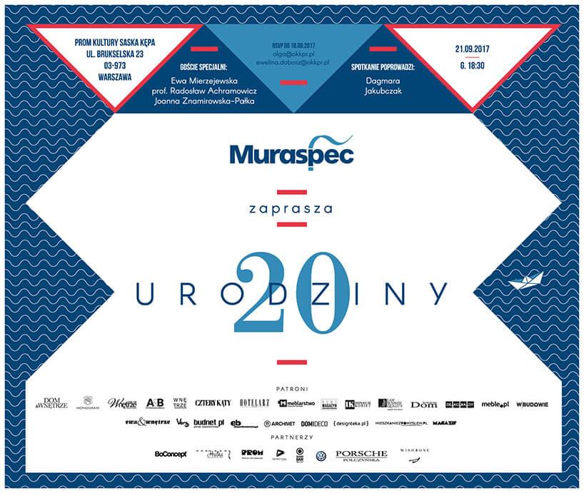 zaproszenie na 20 urodziny Muraspec wPolsce