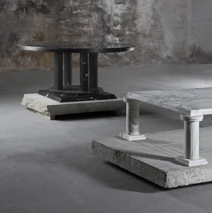 czarne ibiałe marmurowe stoliki
