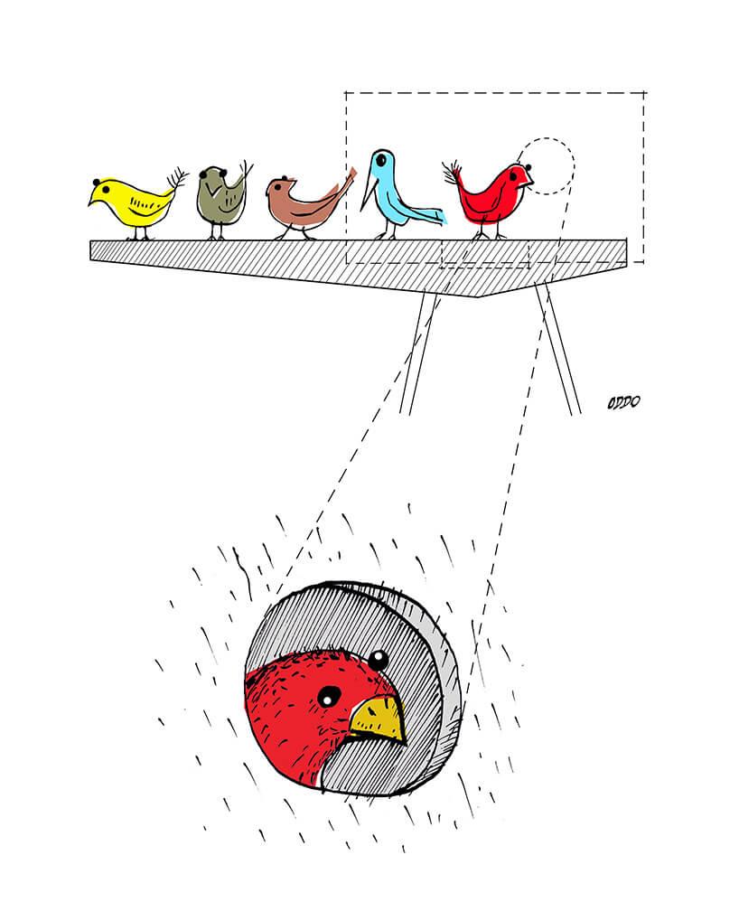 wizualizacja karmnika zwybiegiem