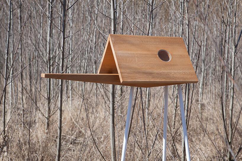 drewniany karmnik zwybiegiem