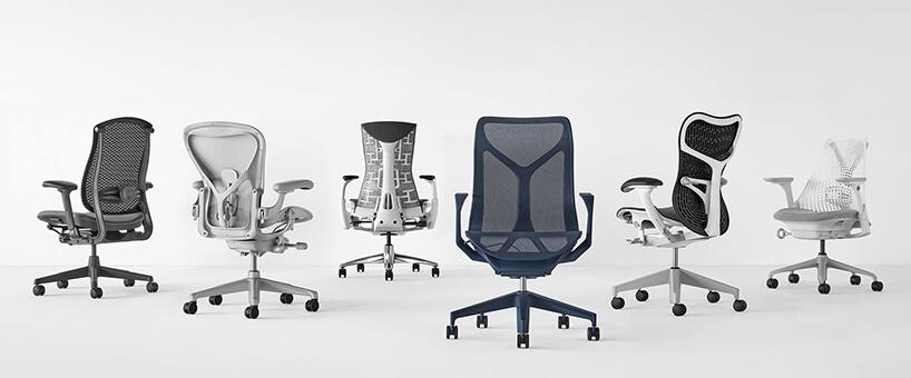 sześć różnych nowoczesnych krzeseł biurowych Herman Miller