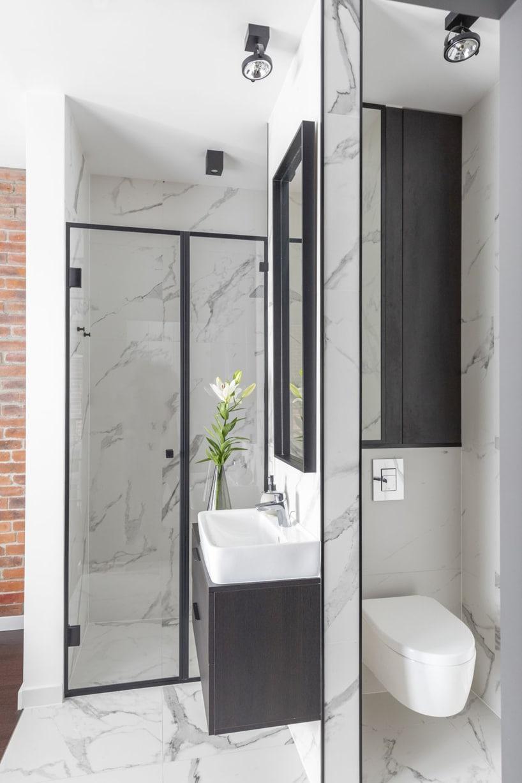 kawalerka wstylu industrialnym od decoroom prysznic iumywalka na tle kamiennego białego aneksu łazienkowego zukrytą toaletą