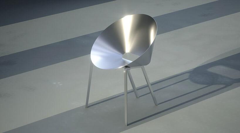 metalowe krzesła od Toma Dixona