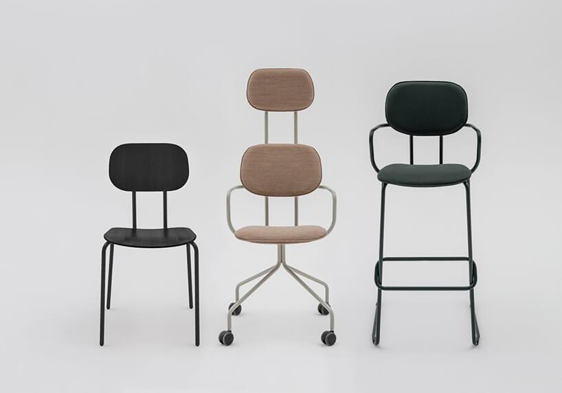 trzy krzesła zserii New School od MDD różnej konfiguracji