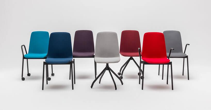 siedem krzeseł zserii Ulti od MDD wrożnych kolorach ikonfiguracjach nóg