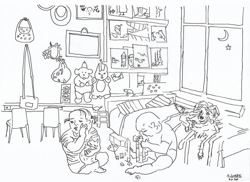 kolorowanka pokoju dziecięcego idwójki dzieci bawiących się wnim
