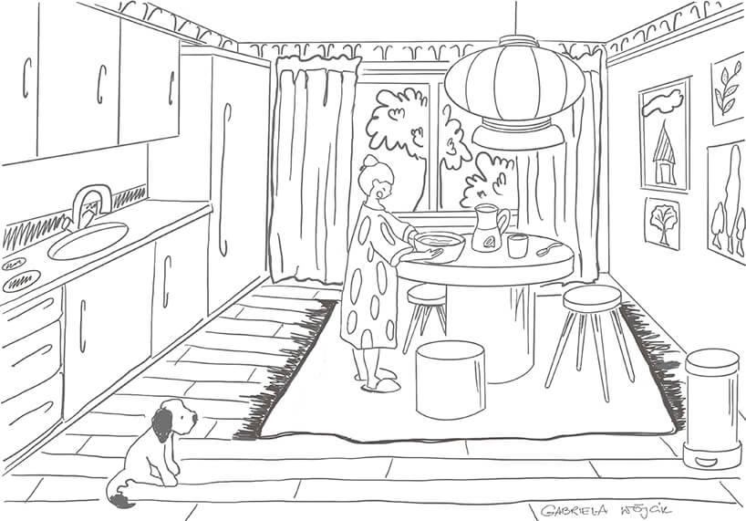 kolorowanka kuchni wktórej kobieta stoi przy stole trzymając misę