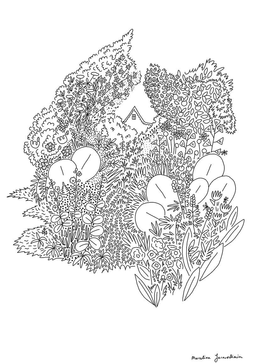 kolorowanka lasu zkwiatami zasłaniających dom woddali