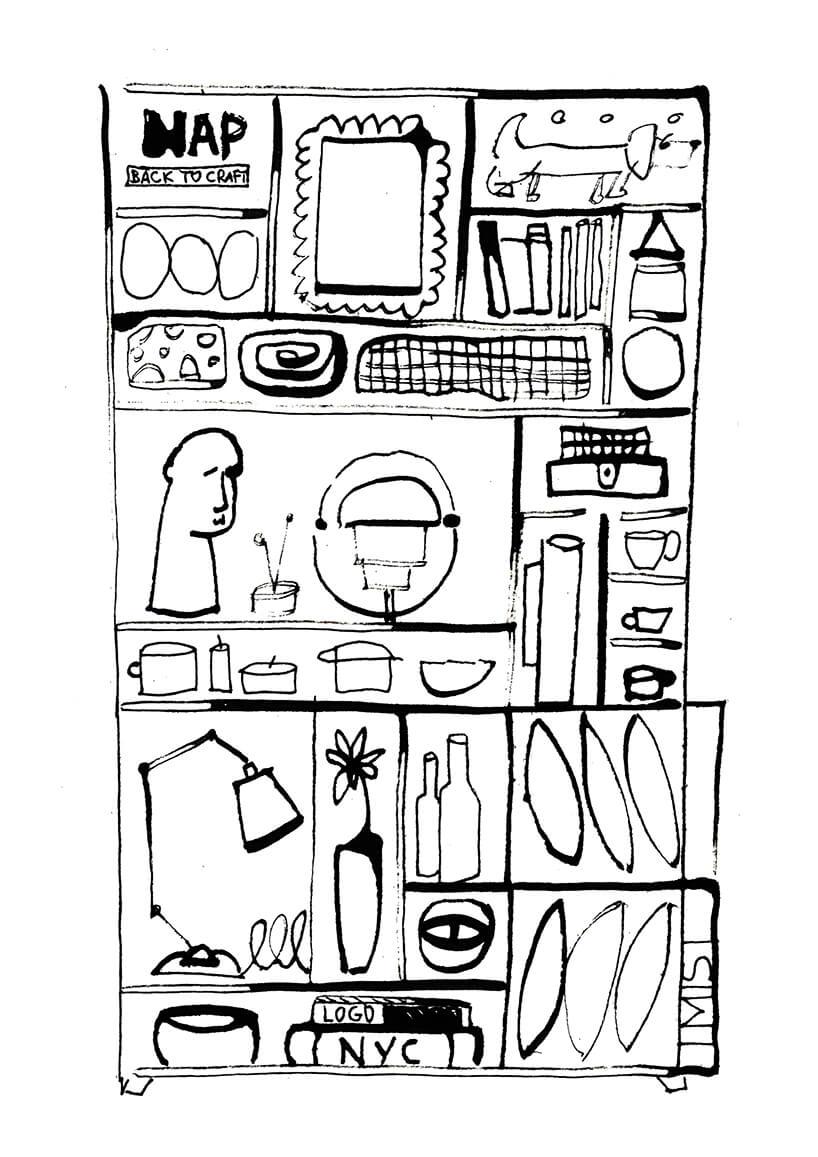 kolorowanka przedstawiająca szafkę zrożnymi rzeczami