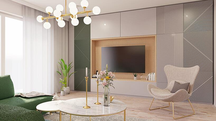 elegancki salon zzabudowaną ścianą wokół telewizora we wnęce
