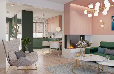 nowoczesny salon z jasną drewnianą podłogą z zieloną sofą i szarym fotelem na tle kominka