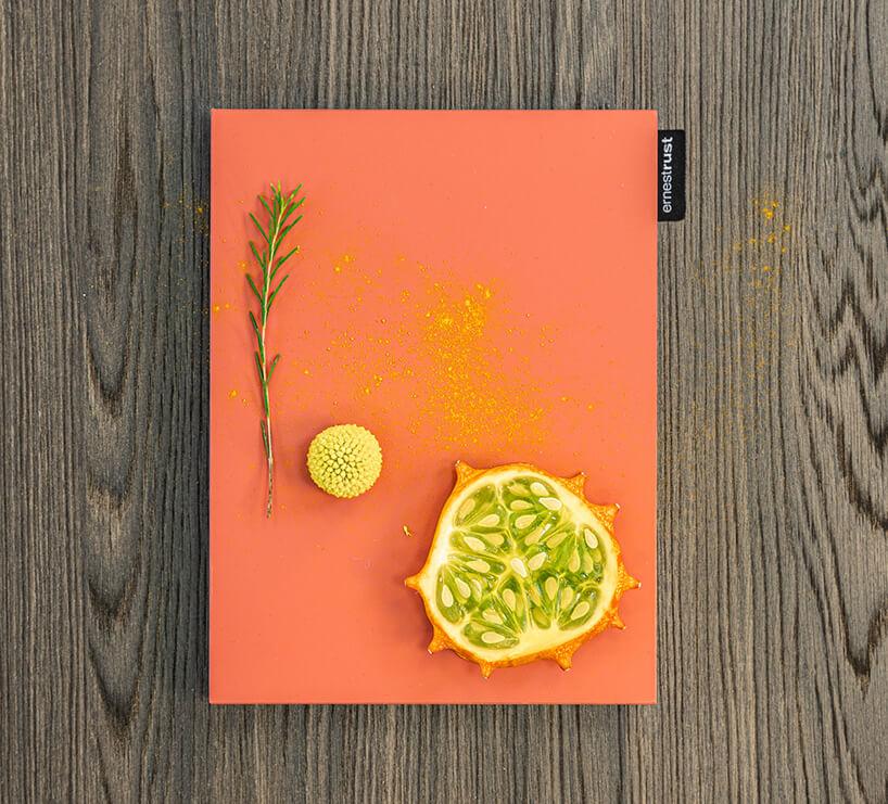 pomarańczowa tacka od ernestrust na brązowym drewnianym blacie