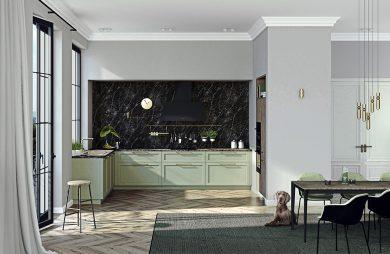 szara kuchnia z zielonymi meblami od ernestrust we wnęce wykończoną czarnym kamieniem