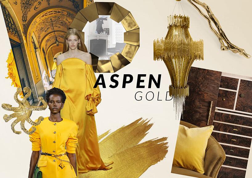 kobiety ubrane wżółte stroje pośród żółtych mebli znapisem Aspen Gold