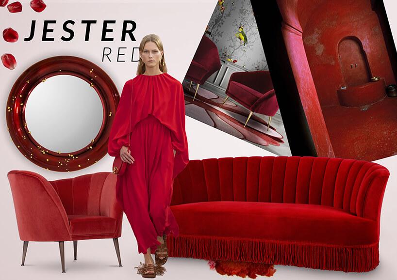 kobieta wczerwonym kostium pośród rożnych czerwonych mebli znapisem Jester Red